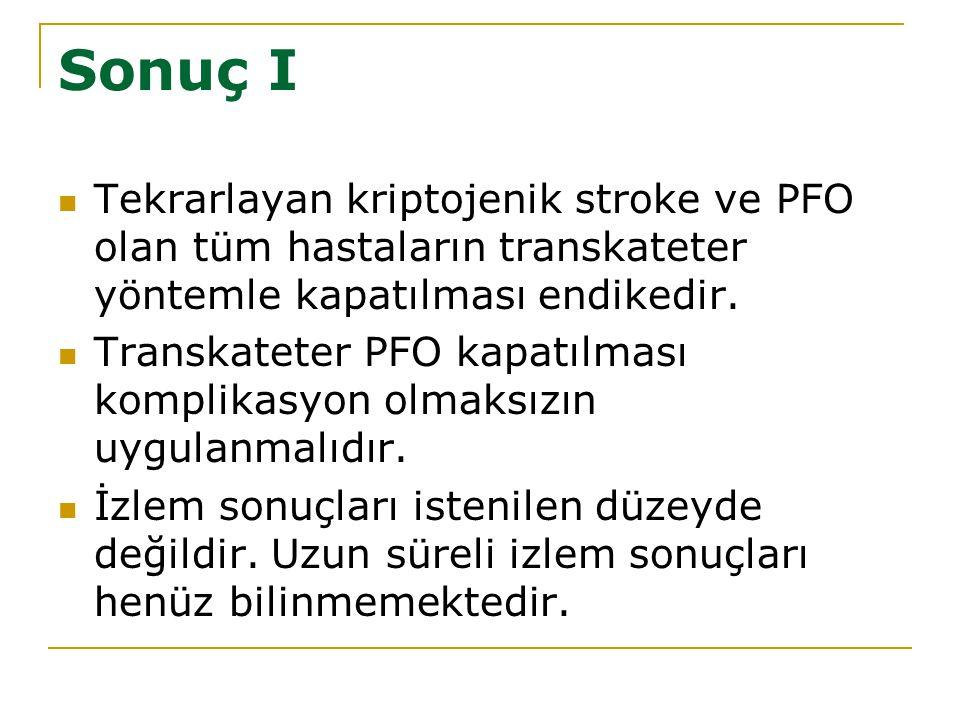 Sonuç I Tekrarlayan kriptojenik stroke ve PFO olan tüm hastaların transkateter yöntemle kapatılması endikedir.