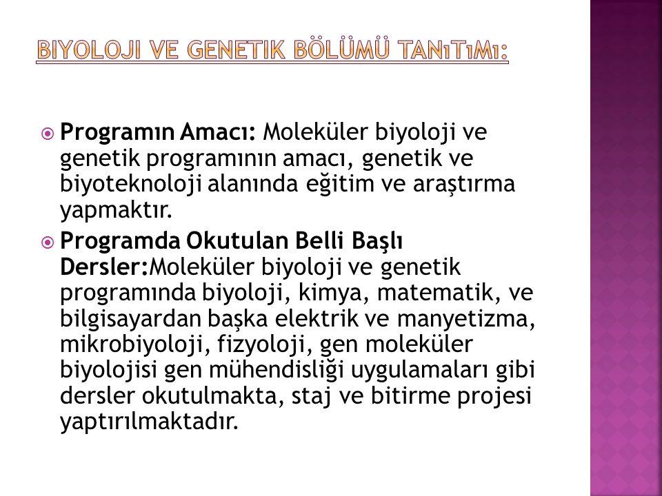 Biyoloji ve Genetik Bölümü Tanıtımı: