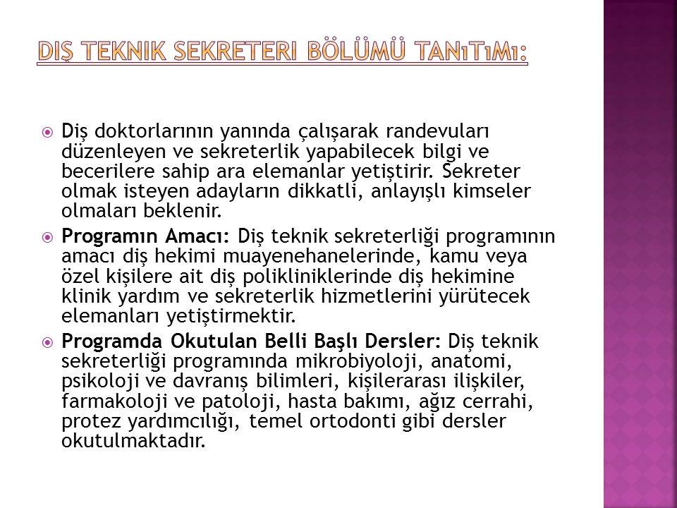 Diş Teknik Sekreteri Bölümü Tanıtımı: