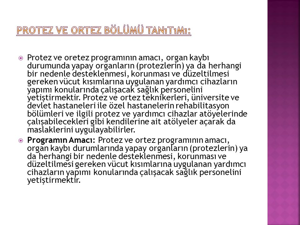Protez ve Ortez Bölümü Tanıtımı: