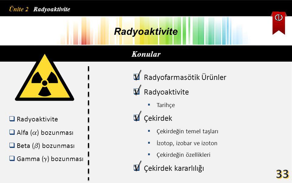 33     Radyoaktivite Konular Radyofarmasötik Ürünler Radyoaktivite