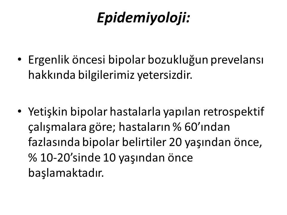 Epidemiyoloji: Ergenlik öncesi bipolar bozukluğun prevelansı hakkında bilgilerimiz yetersizdir.