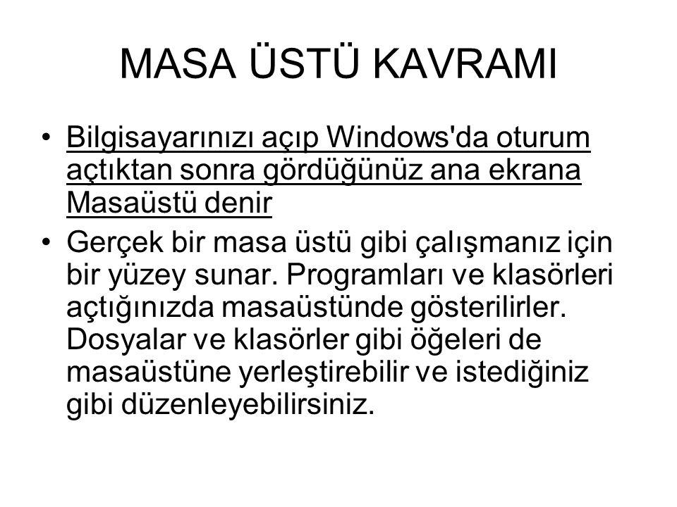 MASA ÜSTÜ KAVRAMI Bilgisayarınızı açıp Windows da oturum açtıktan sonra gördüğünüz ana ekrana Masaüstü denir.