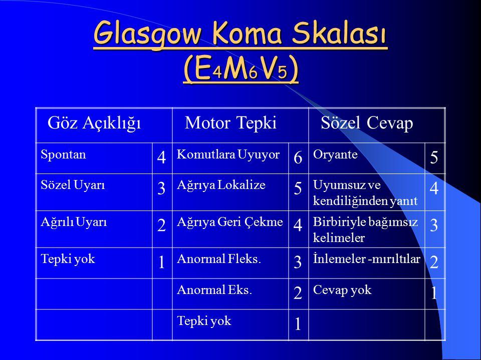 Glasgow Koma Skalası (E4M6V5)