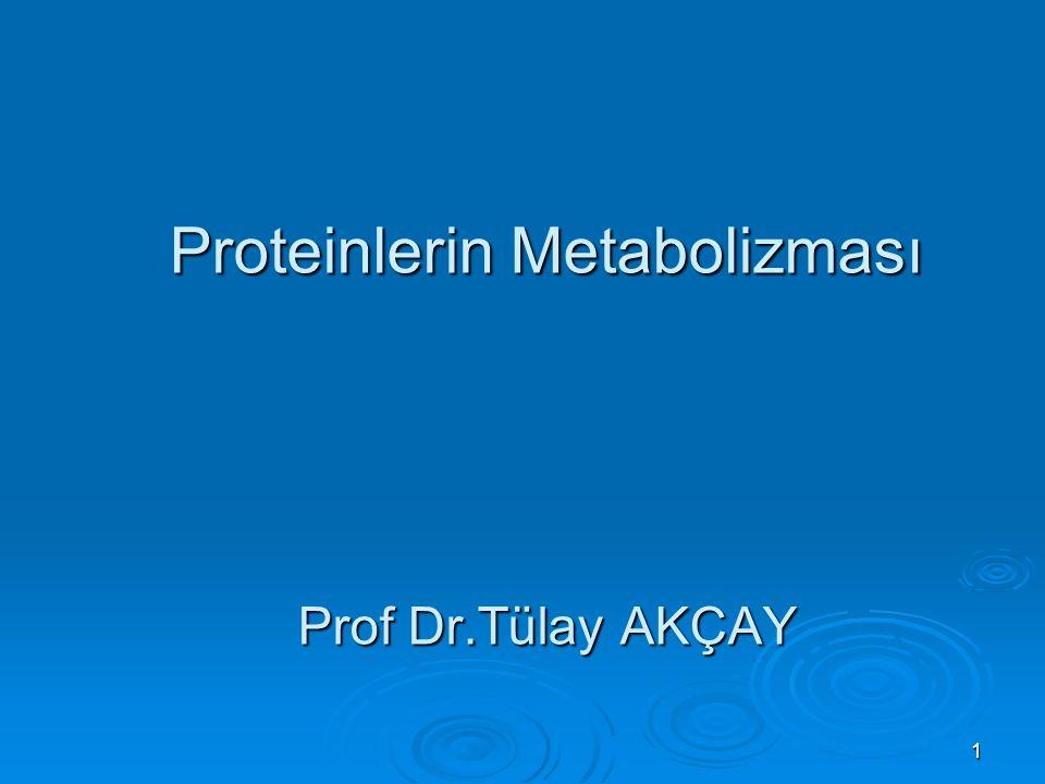 Proteinlerin Metabolizması Prof Dr.Tülay AKÇAY