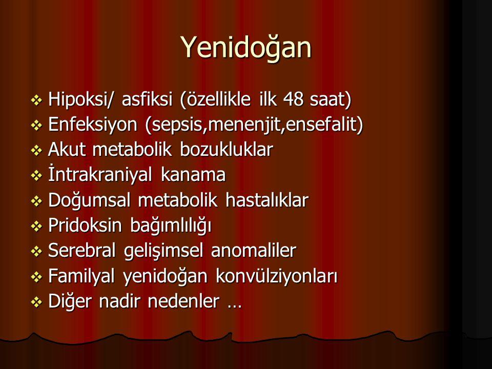 Yenidoğan Hipoksi/ asfiksi (özellikle ilk 48 saat)
