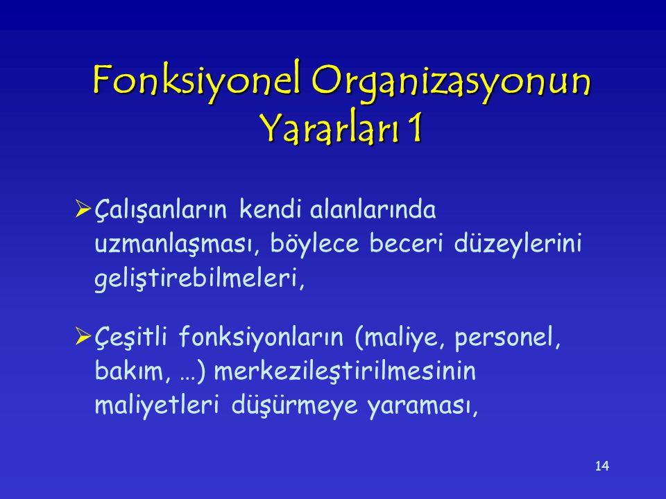 Fonksiyonel Organizasyonun Yararları 1
