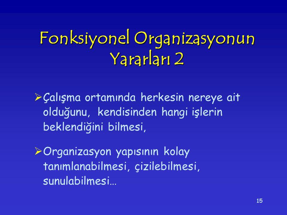 Fonksiyonel Organizasyonun Yararları 2