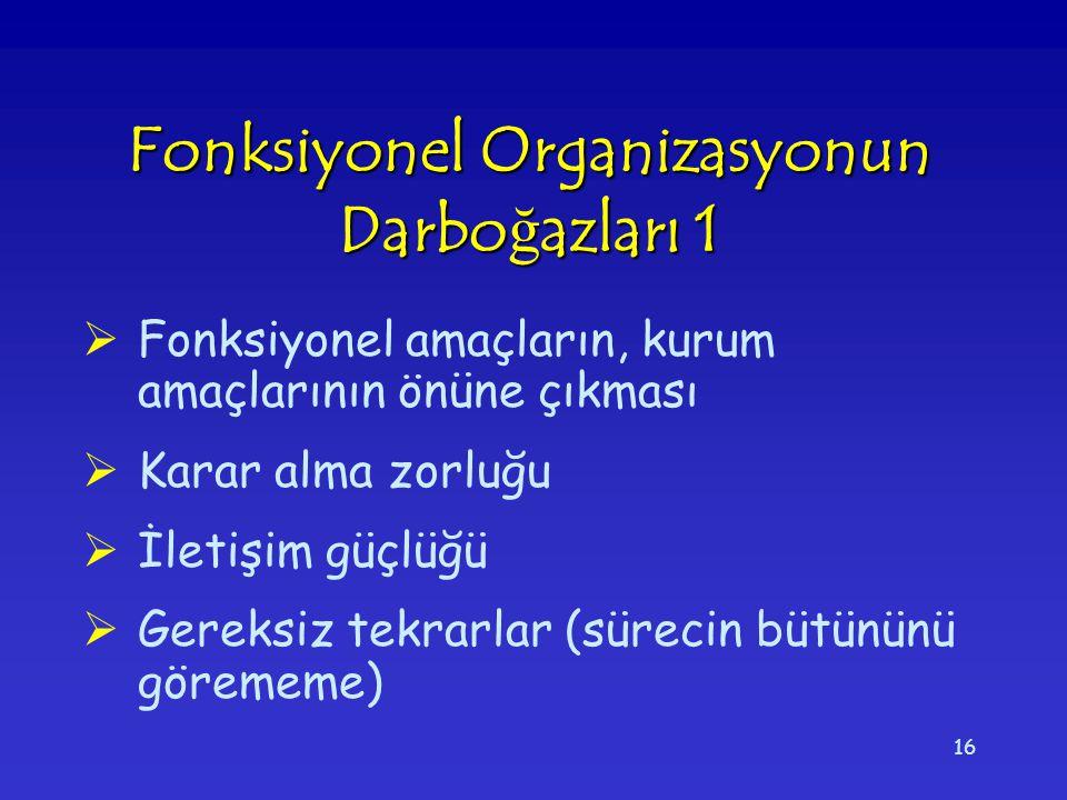 Fonksiyonel Organizasyonun Darboğazları 1