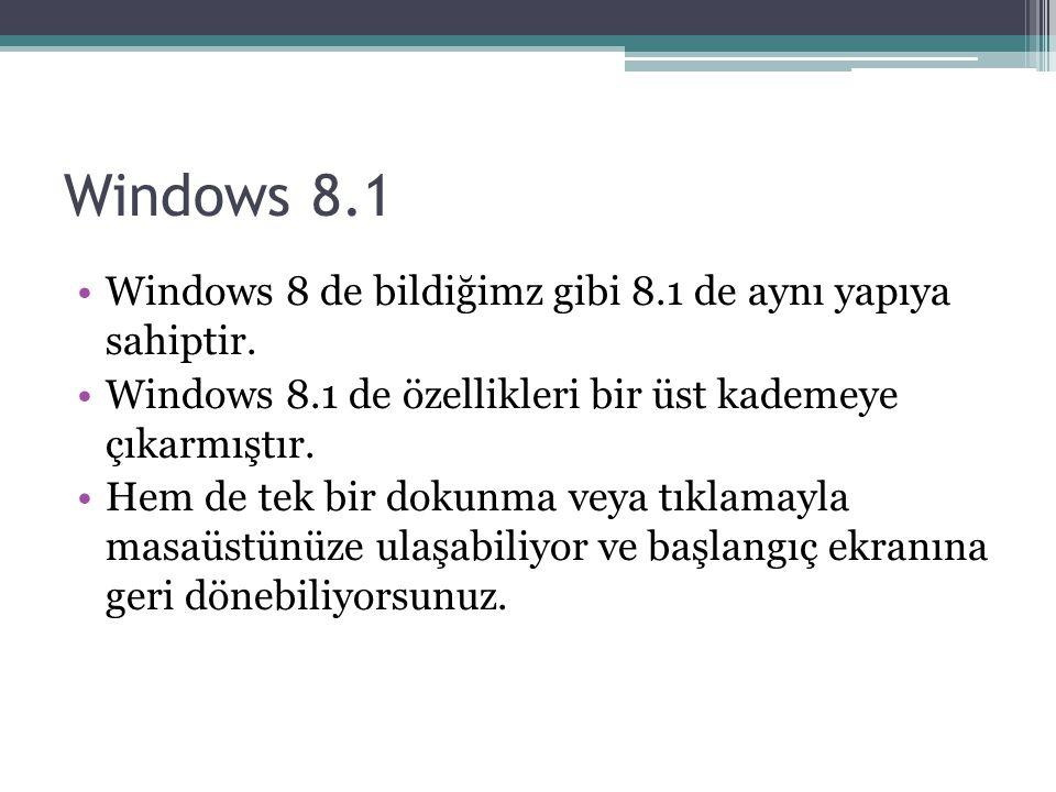 Windows 8.1 Windows 8 de bildiğimz gibi 8.1 de aynı yapıya sahiptir.