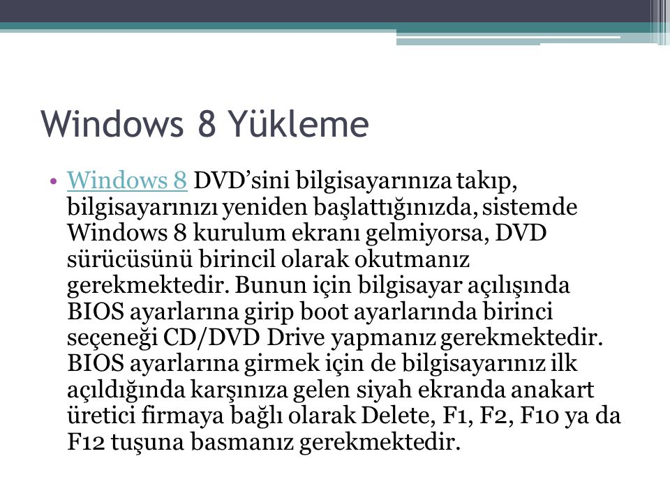 Windows 8 Yükleme
