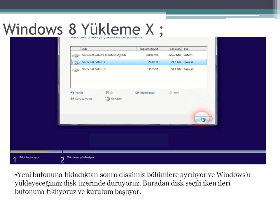 Windows 8 Yükleme X ;