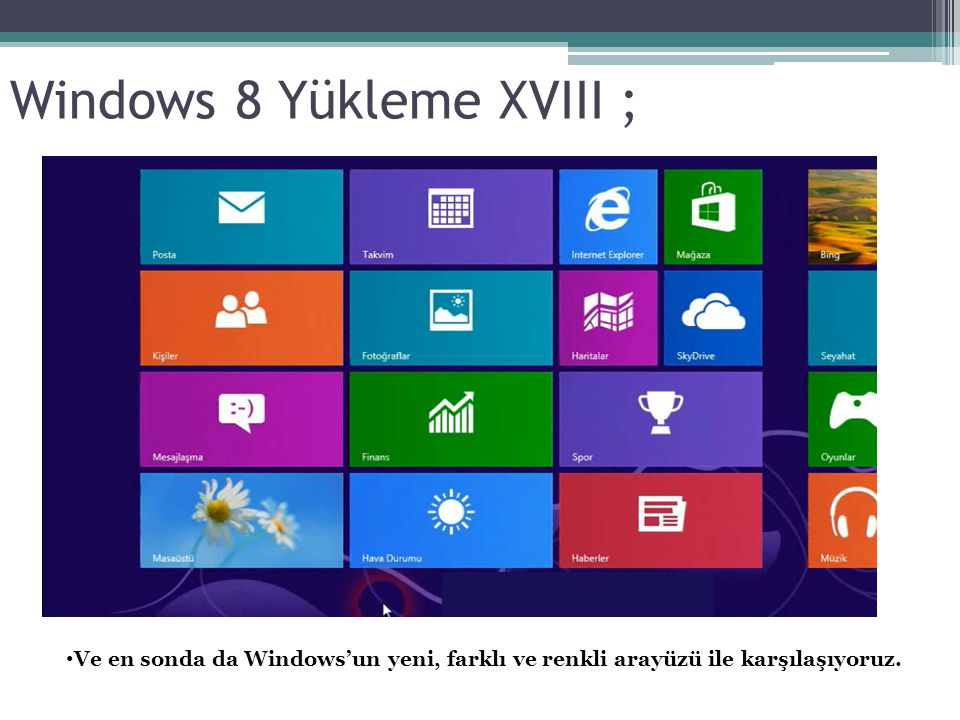 Windows 8 Yükleme XVIII ;