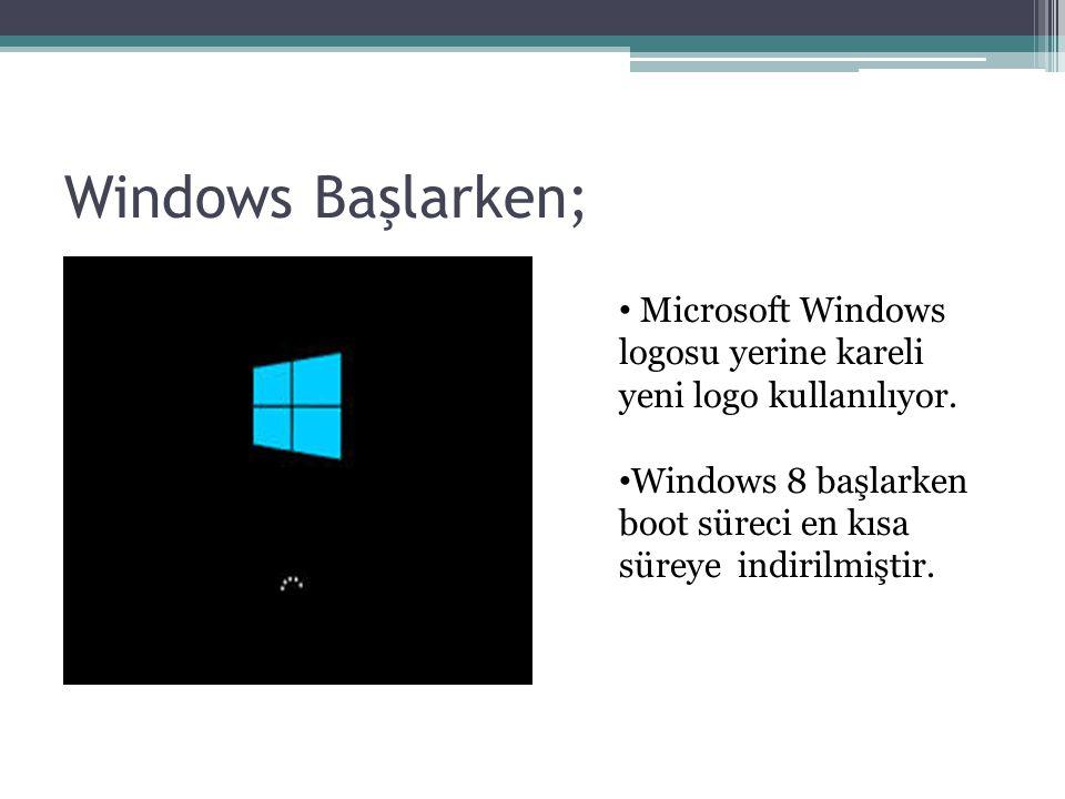 Windows Başlarken; Microsoft Windows logosu yerine kareli yeni logo kullanılıyor.