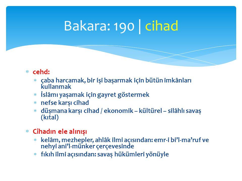 Bakara: 190 | cihad cehd: Cihadın ele alınışı