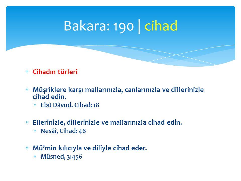 Bakara: 190 | cihad Cihadın türleri
