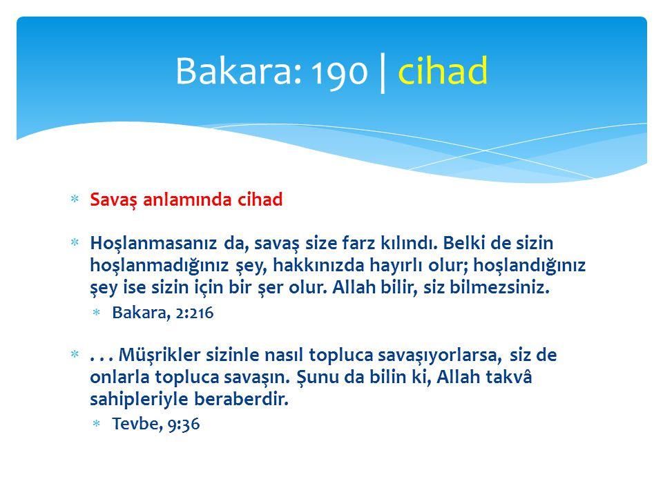 Bakara: 190 | cihad Savaş anlamında cihad
