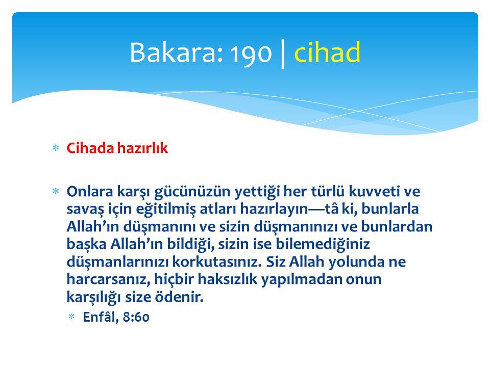 Bakara: 190 | cihad Cihada hazırlık