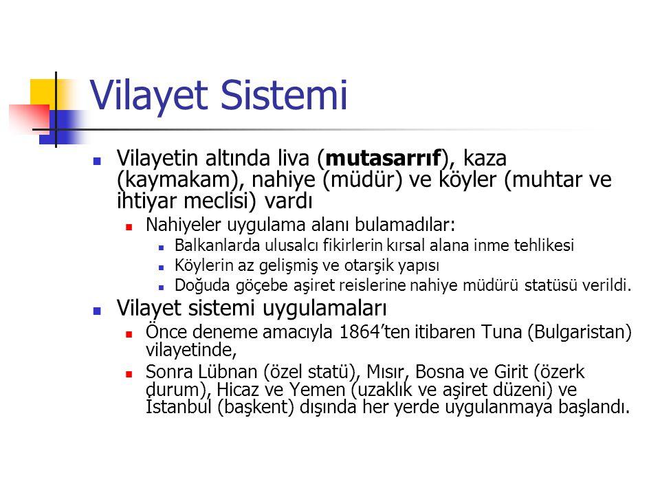 Vilayet Sistemi Vilayetin altında liva (mutasarrıf), kaza (kaymakam), nahiye (müdür) ve köyler (muhtar ve ihtiyar meclisi) vardı.