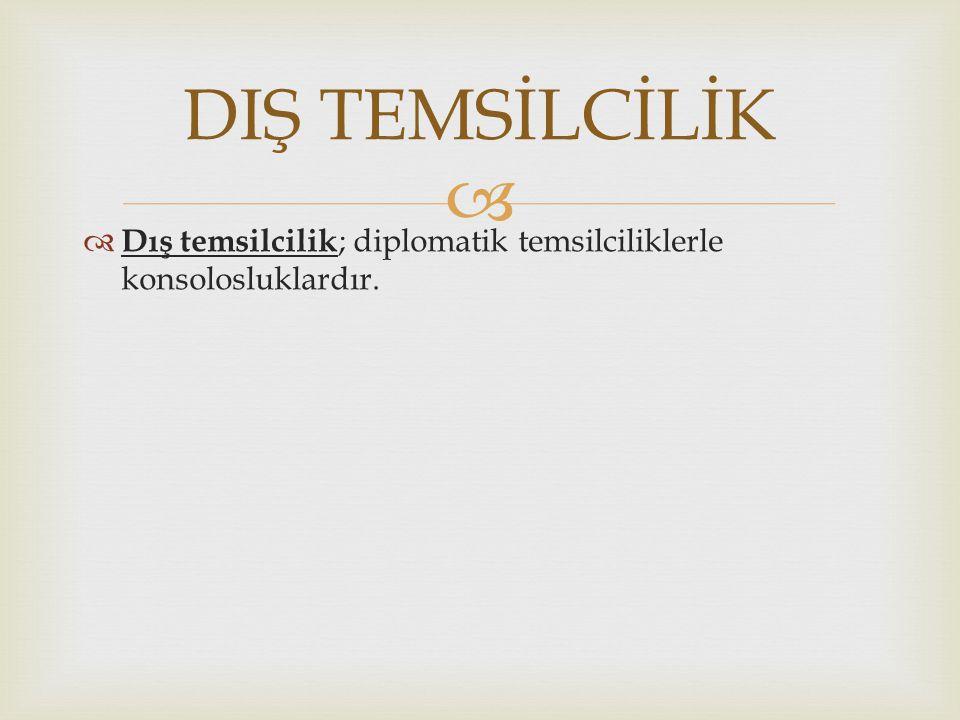 DIŞ TEMSİLCİLİK Dış temsilcilik; diplomatik temsilciliklerle konsolosluklardır.