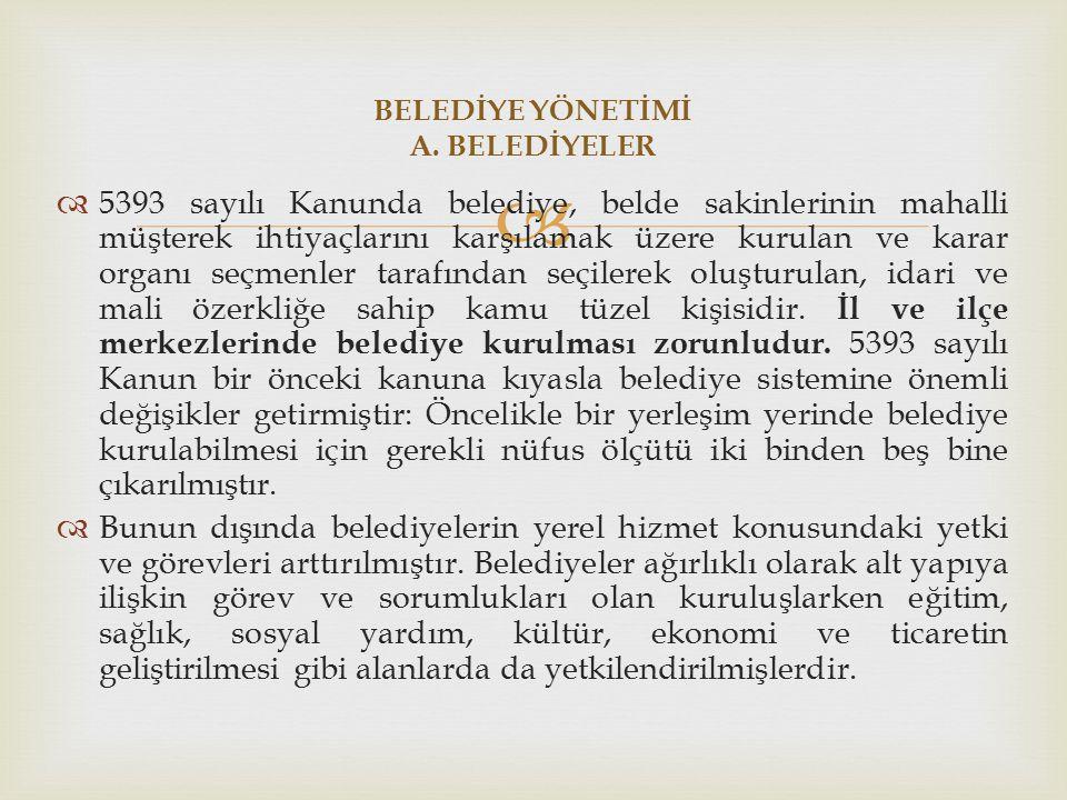 BELEDİYE YÖNETİMİ A. BELEDİYELER