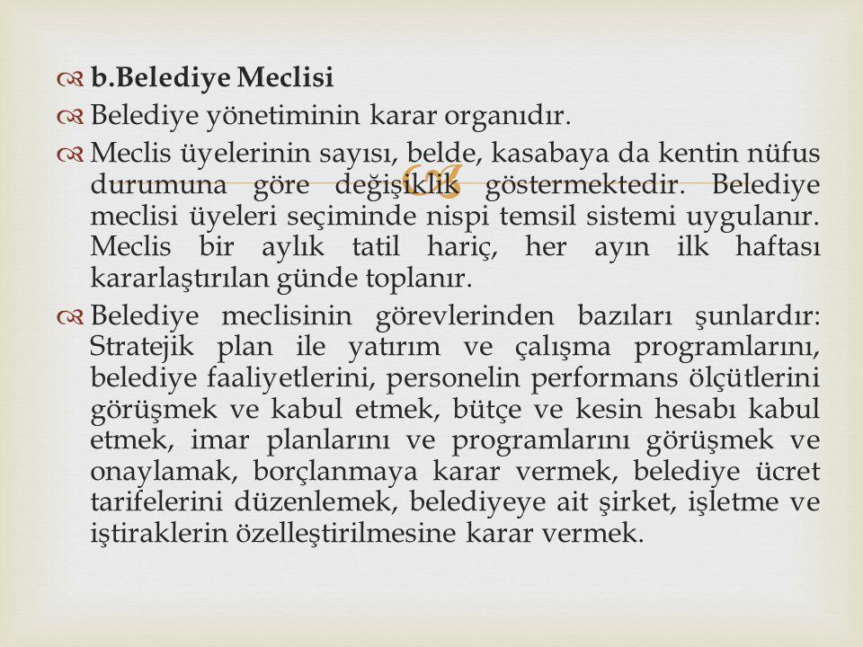 b.Belediye Meclisi Belediye yönetiminin karar organıdır.