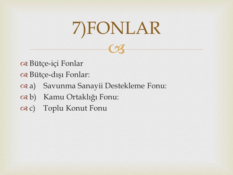 7)FONLAR Bütçe-içi Fonlar Bütçe-dışı Fonlar: