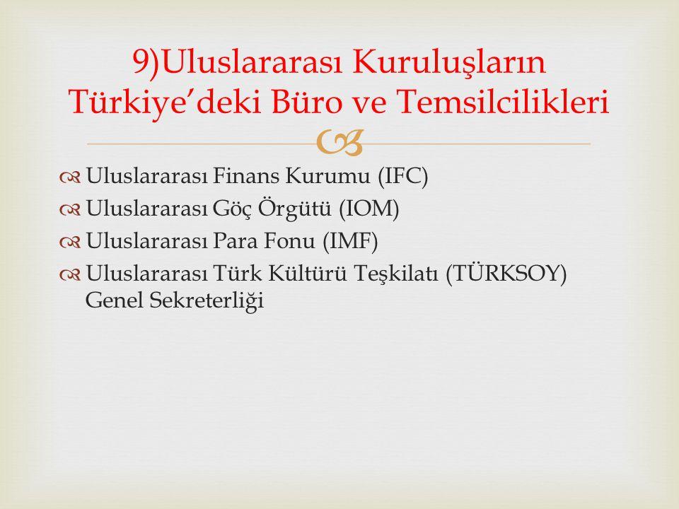 9)Uluslararası Kuruluşların Türkiye'deki Büro ve Temsilcilikleri