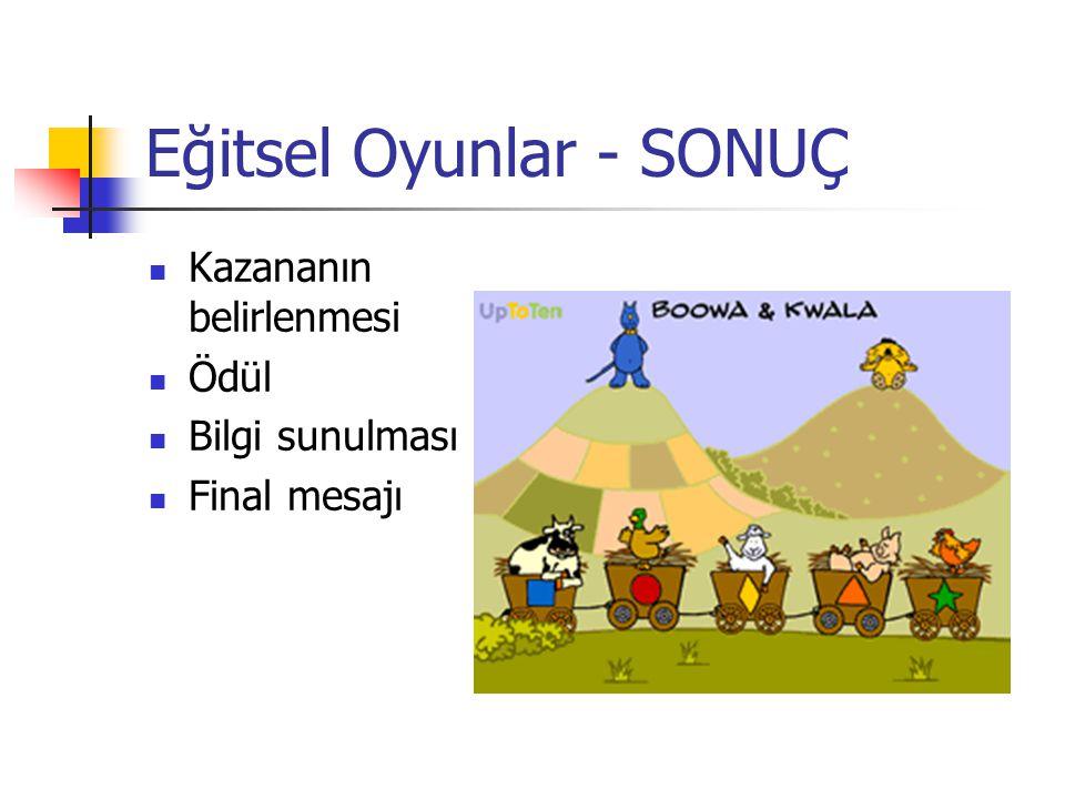 Eğitsel Oyunlar - SONUÇ