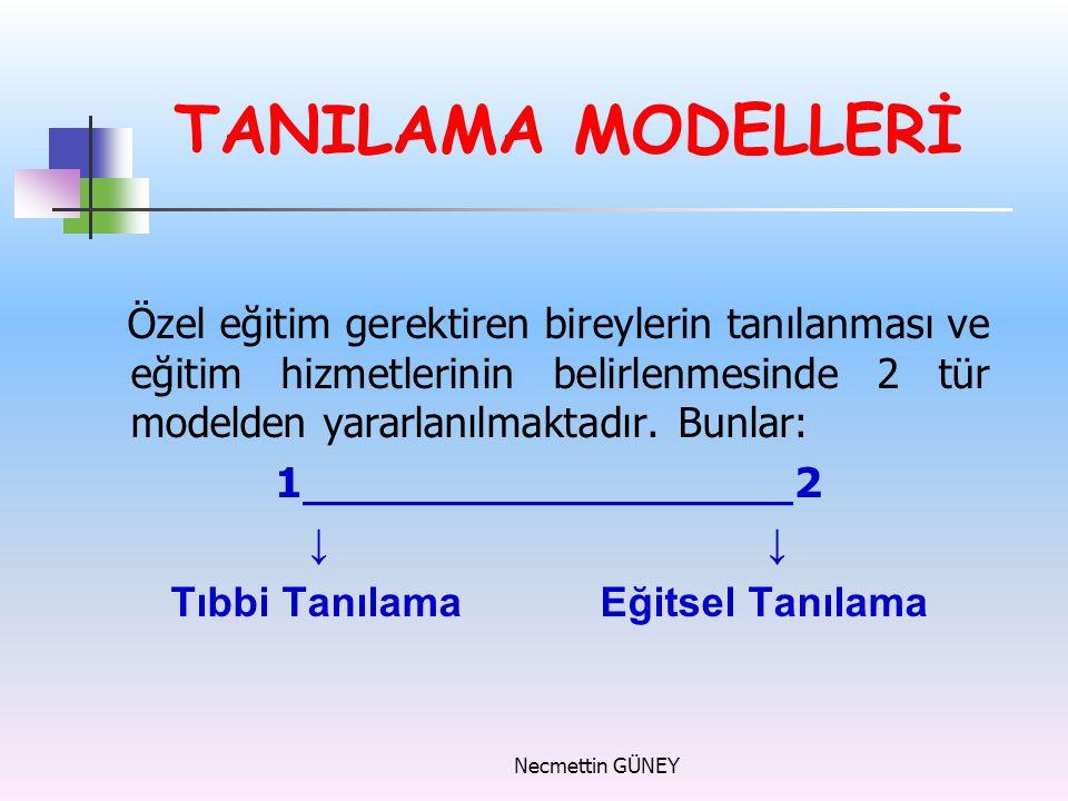 TANILAMA MODELLERİ Özel eğitim gerektiren bireylerin tanılanması ve eğitim hizmetlerinin belirlenmesinde 2 tür modelden yararlanılmaktadır. Bunlar:
