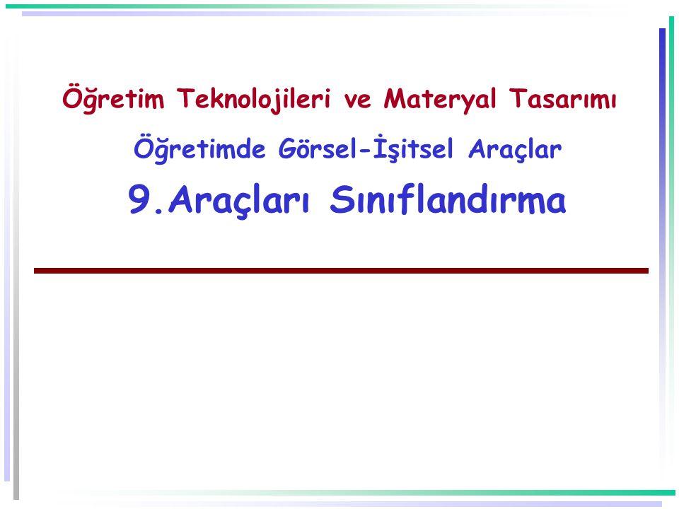 Öğretim Teknolojileri ve Materyal Tasarımı Öğretimde Görsel-İşitsel Araçlar 9.Araçları Sınıflandırma