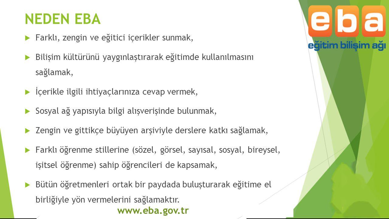 NEDEN EBA www.eba.gov.tr Farklı, zengin ve eğitici içerikler sunmak,