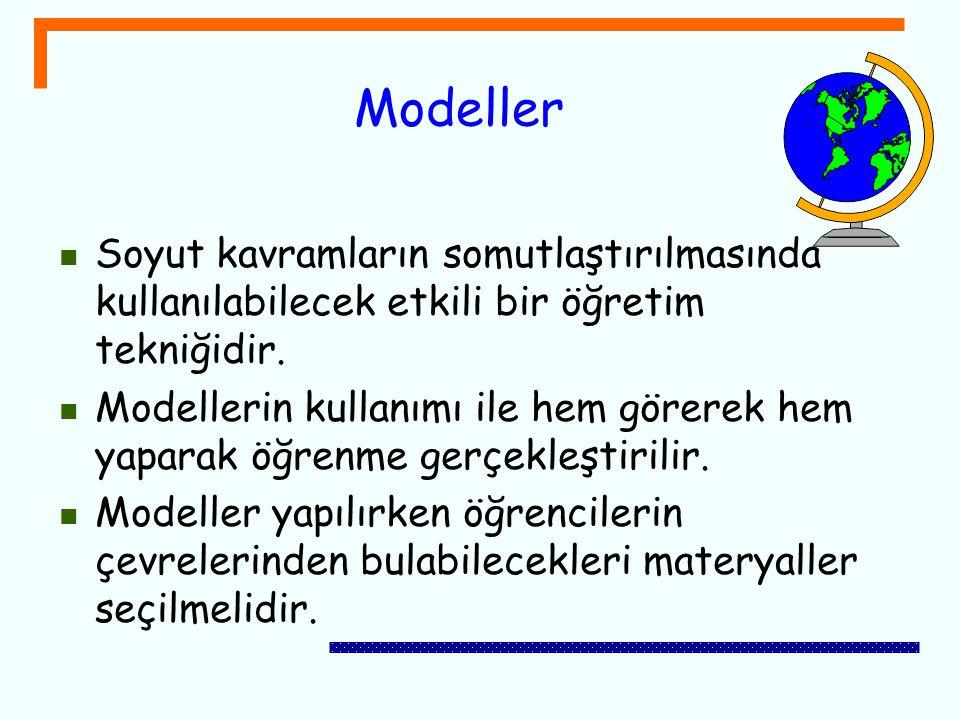 Modeller Soyut kavramların somutlaştırılmasında kullanılabilecek etkili bir öğretim tekniğidir.