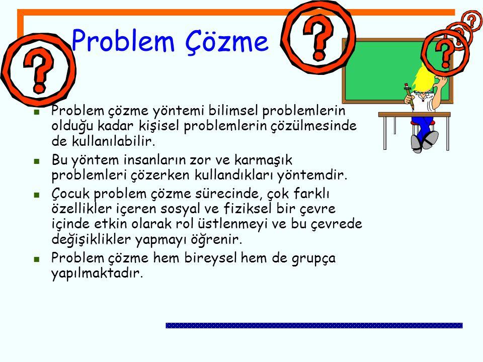 Problem Çözme Problem çözme yöntemi bilimsel problemlerin olduğu kadar kişisel problemlerin çözülmesinde de kullanılabilir.