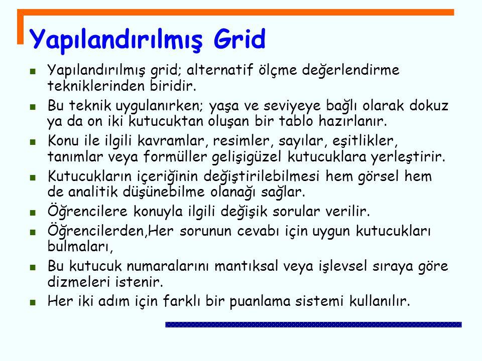 Yapılandırılmış Grid Yapılandırılmış grid; alternatif ölçme değerlendirme tekniklerinden biridir.