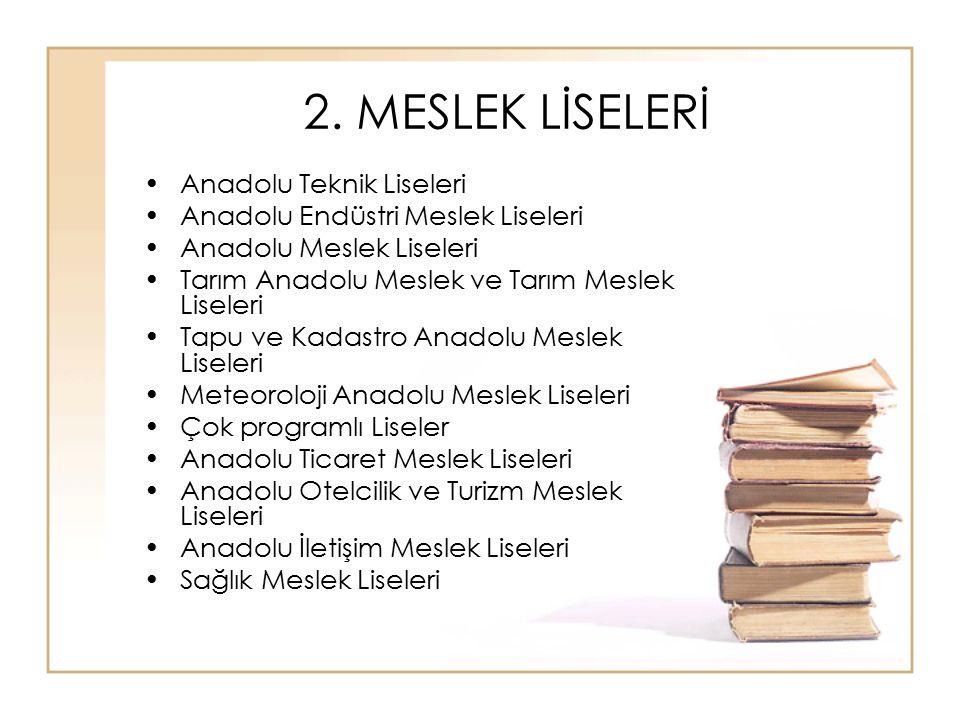 2. MESLEK LİSELERİ Anadolu Teknik Liseleri