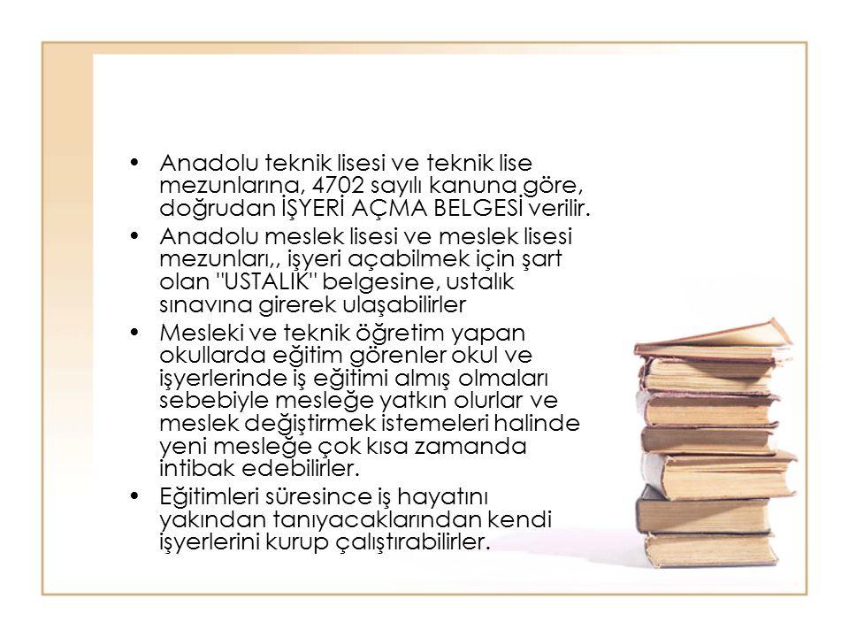 Anadolu teknik lisesi ve teknik lise mezunlarına, 4702 sayılı kanuna göre, doğrudan İŞYERİ AÇMA BELGESİ verilir.