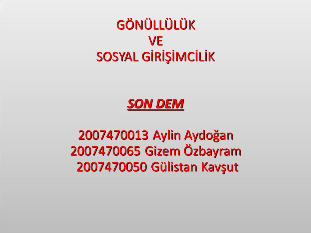 GÖNÜLLÜLÜK VE. SOSYAL GİRİŞİMCİLİK. SON DEM. 2007470013 Aylin Aydoğan. 2007470065 Gizem Özbayram.