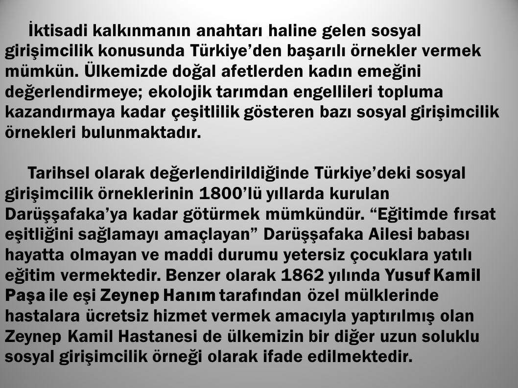 İktisadi kalkınmanın anahtarı haline gelen sosyal girişimcilik konusunda Türkiye'den başarılı örnekler vermek mümkün. Ülkemizde doğal afetlerden kadın emeğini değerlendirmeye; ekolojik tarımdan engellileri topluma kazandırmaya kadar çeşitlilik gösteren bazı sosyal girişimcilik örnekleri bulunmaktadır.