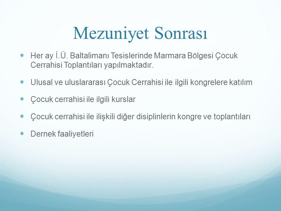 Mezuniyet Sonrası Her ay İ.Ü. Baltalimanı Tesislerinde Marmara Bölgesi Çocuk Cerrahisi Toplantıları yapılmaktadır.