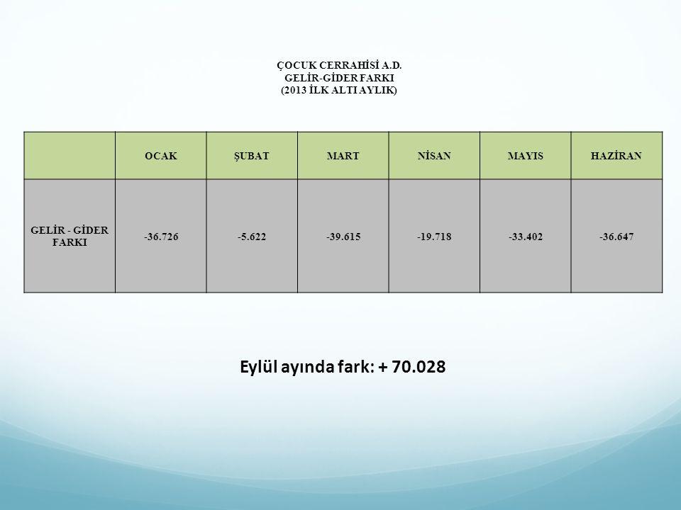 ÇOCUK CERRAHİSİ A.D. GELİR-GİDER FARKI (2013 İLK ALTI AYLIK)