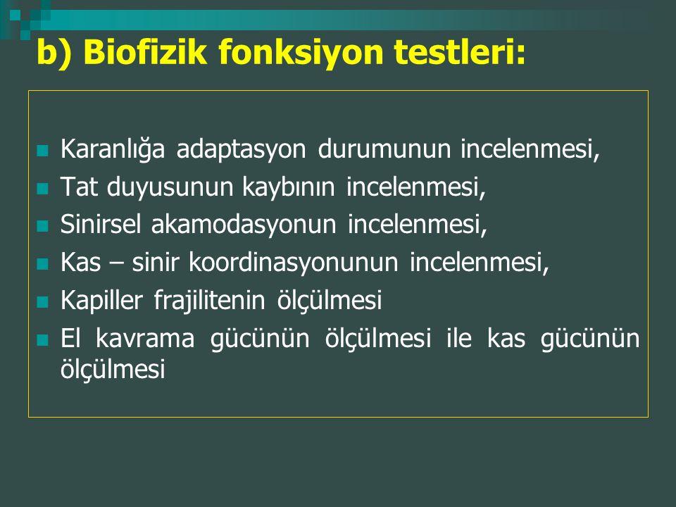 b) Biofizik fonksiyon testleri: