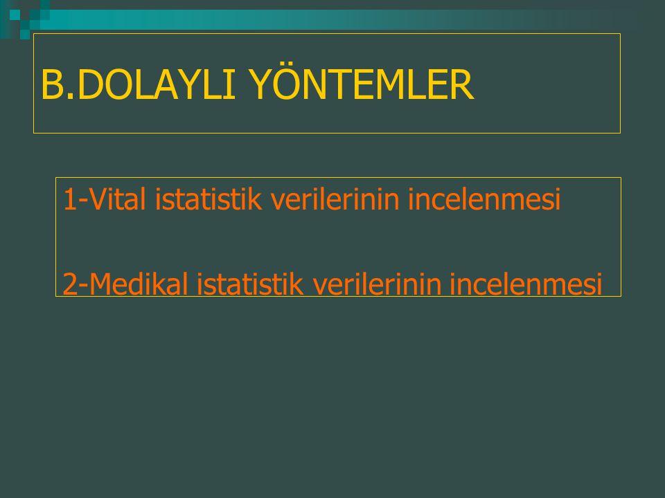 B.DOLAYLI YÖNTEMLER 1-Vital istatistik verilerinin incelenmesi