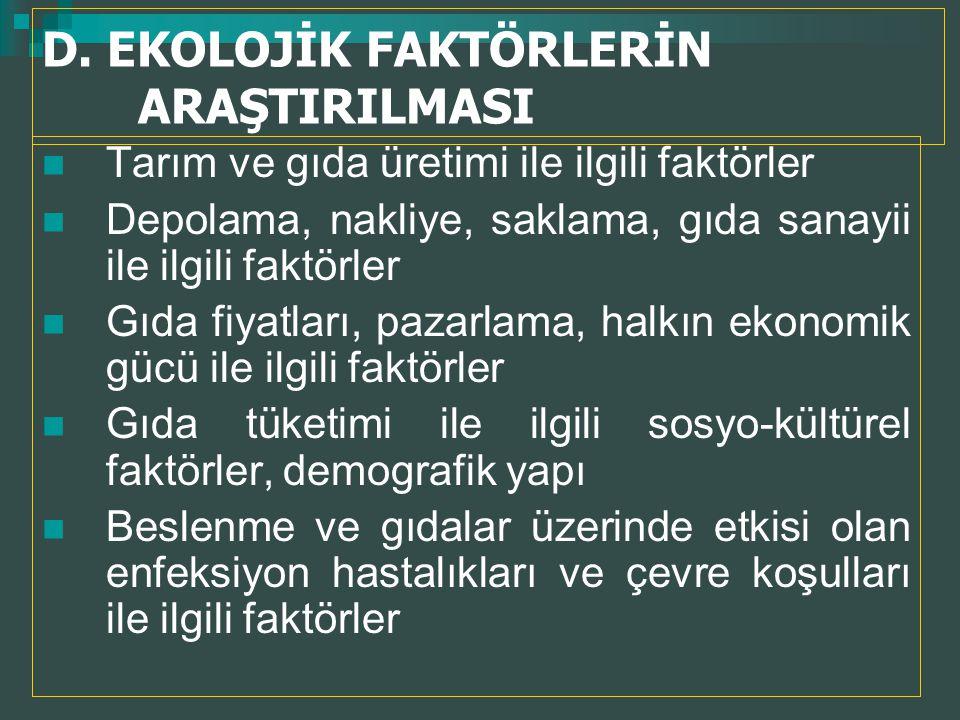 D. EKOLOJİK FAKTÖRLERİN ARAŞTIRILMASI