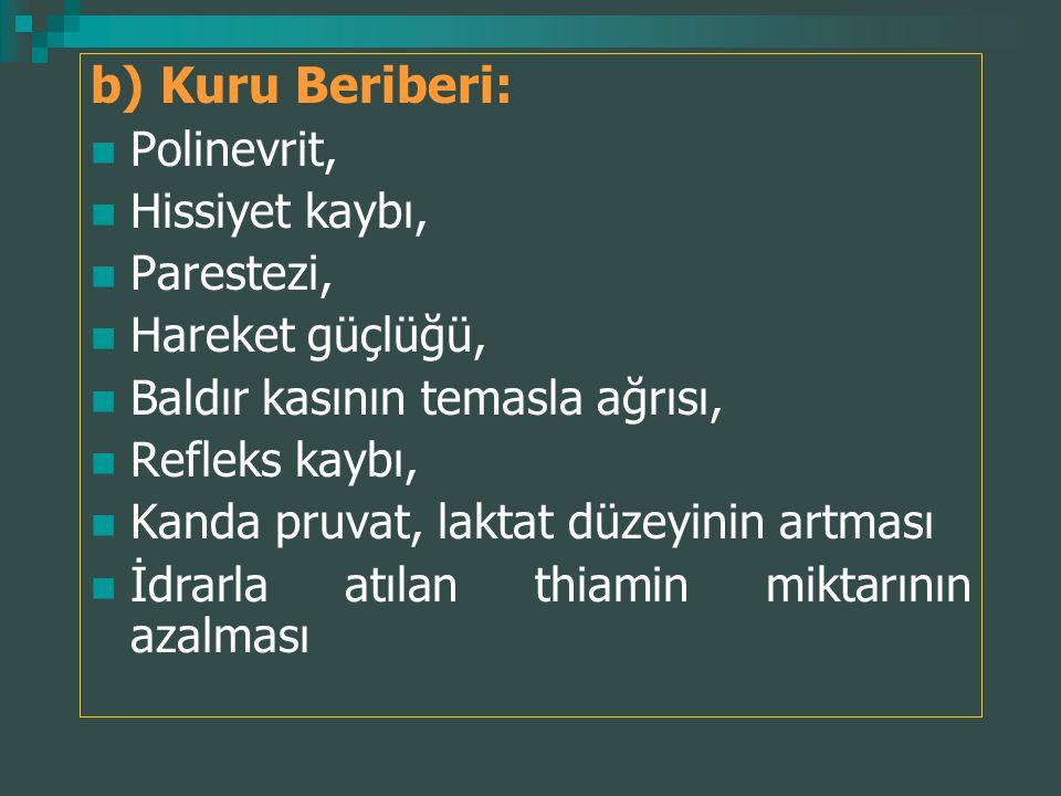 b) Kuru Beriberi: Polinevrit, Hissiyet kaybı, Parestezi,