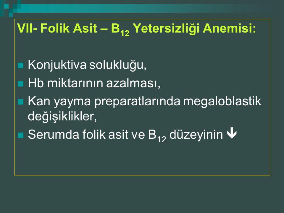 VII- Folik Asit – B12 Yetersizliği Anemisi: