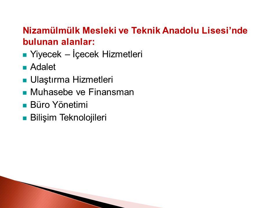 Nizamülmülk Mesleki ve Teknik Anadolu Lisesi'nde bulunan alanlar: