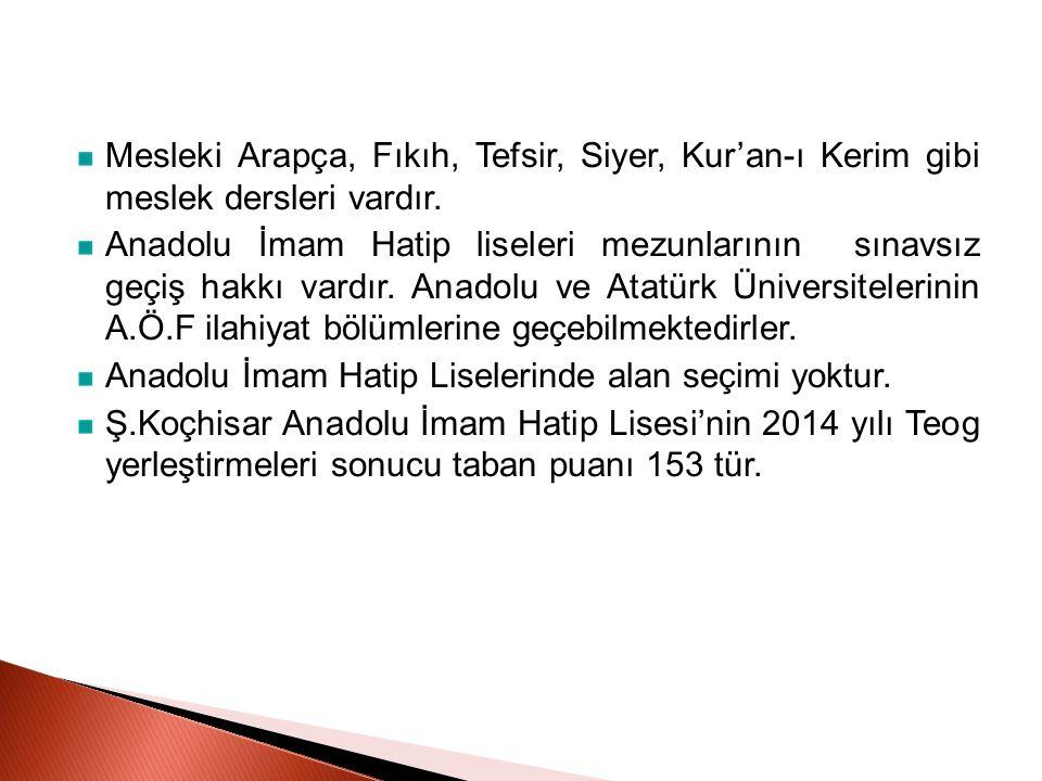 Mesleki Arapça, Fıkıh, Tefsir, Siyer, Kur'an-ı Kerim gibi meslek dersleri vardır.
