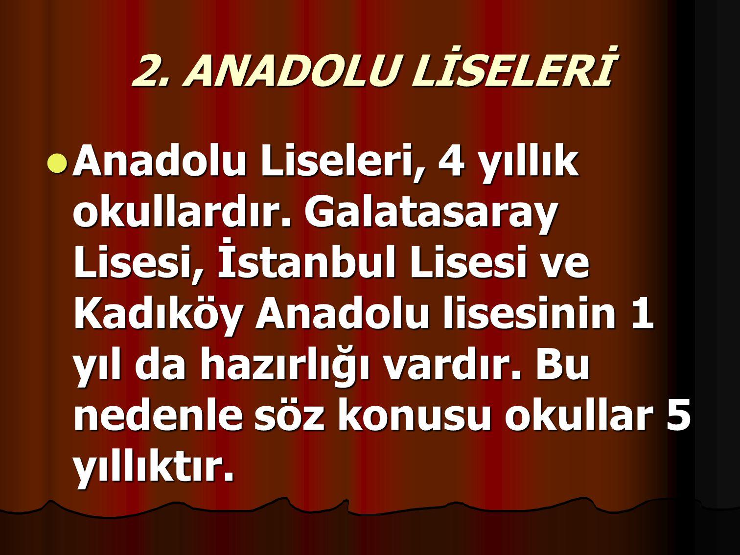 2. ANADOLU LİSELERİ