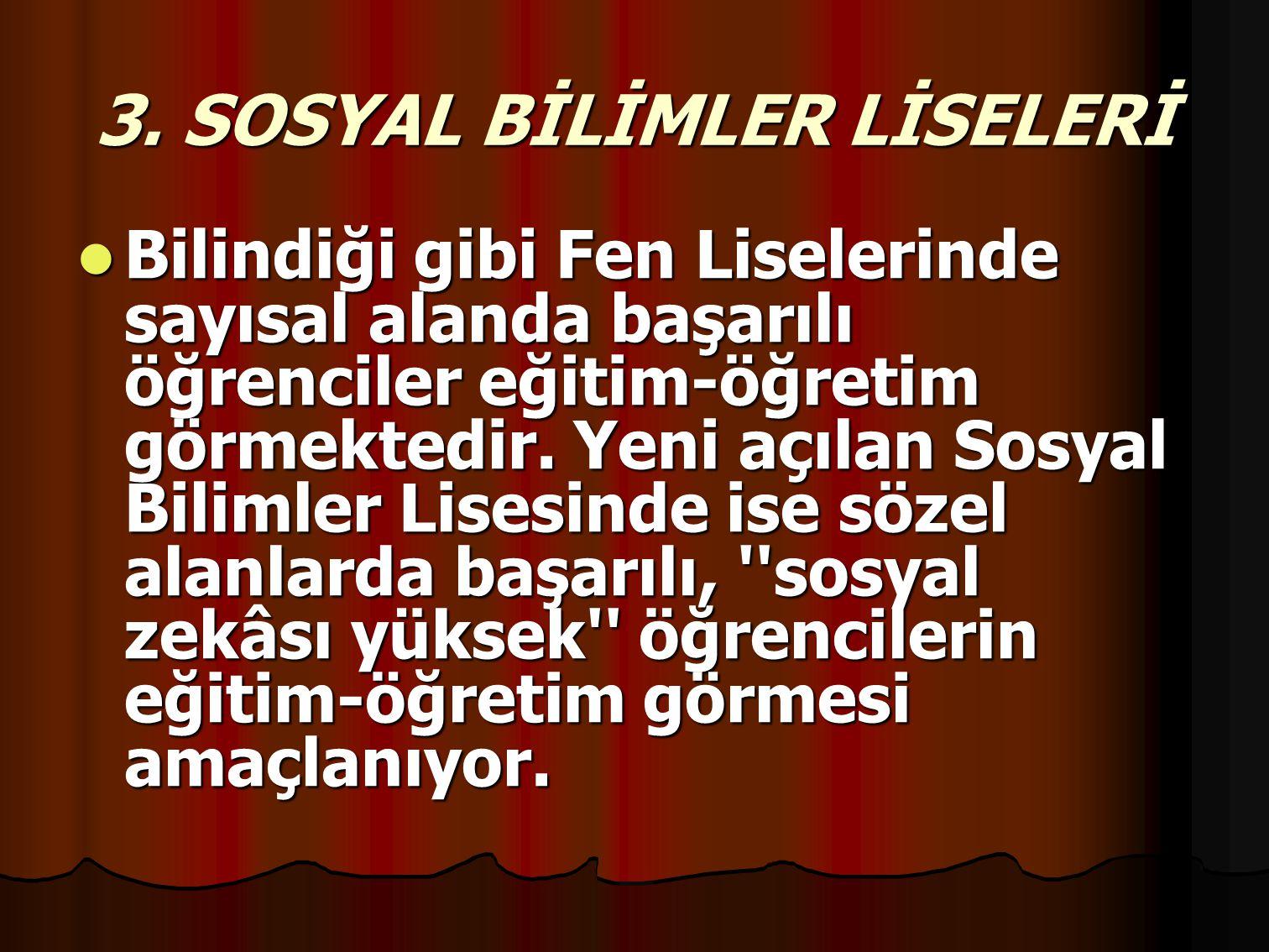 3. SOSYAL BİLİMLER LİSELERİ